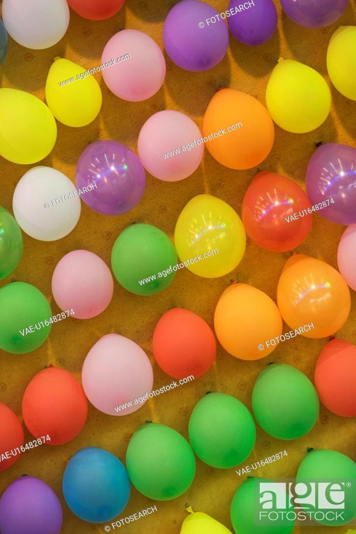 Stock Photo: Balloon, Day, Colorful, Close-Up, Attached.