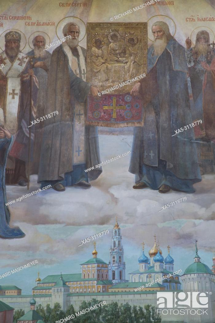 Stock Photo: Frescoes, Holy Gate, The Holy Trinity Saint Serguis Lavra, UNESCO World Heritage Site, Sergiev Posad, Golden Ring, Russia.