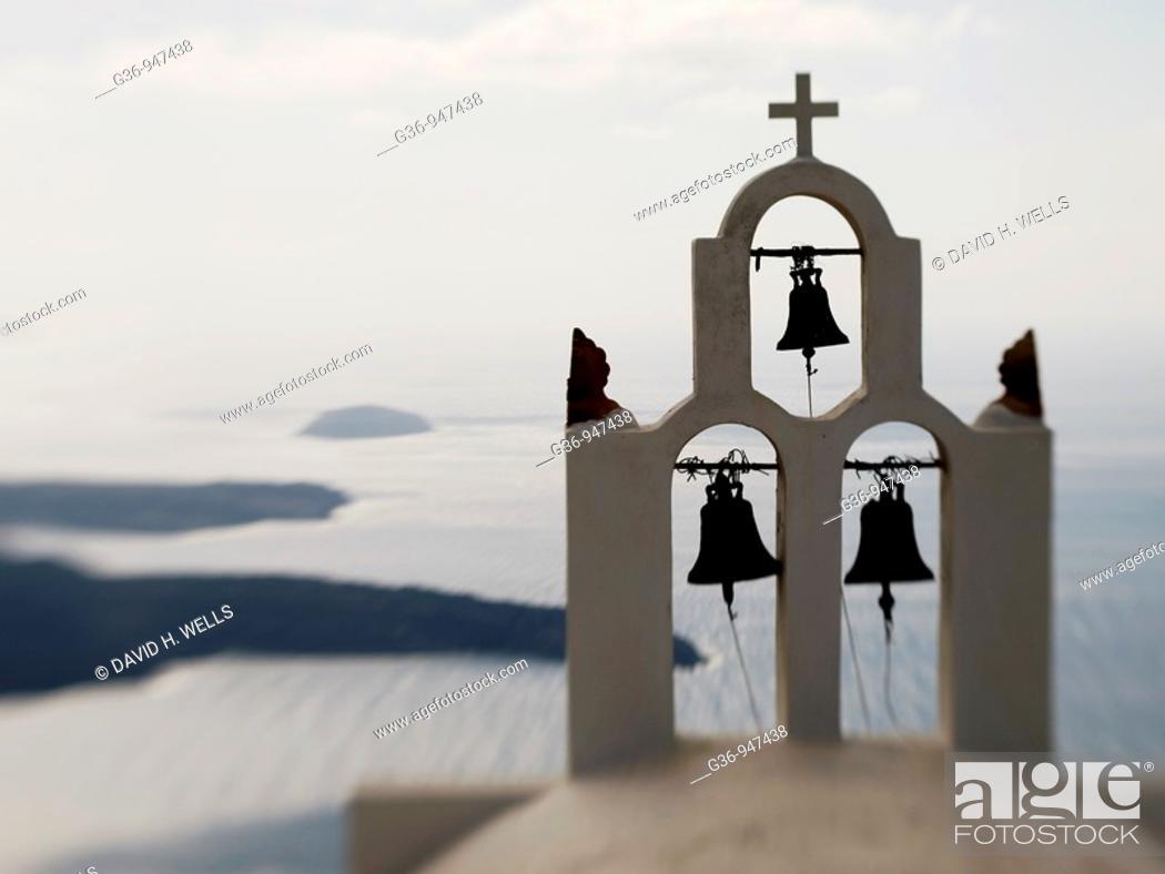 Stock Photo: Close up of Greek Orthodox church in Imerovigli, Santorini, Greece.