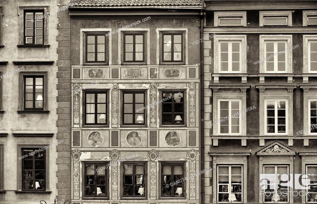 Stock Photo: Facades of townhouses, Old Town Market Place, Zakrzewskiego side - Strona Zakrzewskiego, Old Town, UNESCO World Heritage Site, Poland, Warsaw, Poland, Europe.