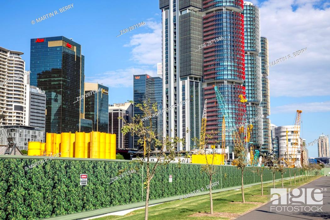 Stock Photo: Barangaroo in Sydney city centre with high rise skyscraper towers, Sydney, Australia.