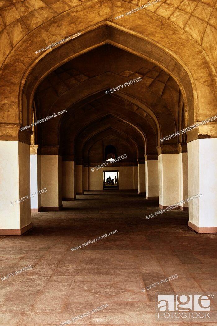 Stock Photo: Interiors of a mausoleum, Tomb Of Akbar The Great, Sikandra, Agra, Uttar Pradesh, India.
