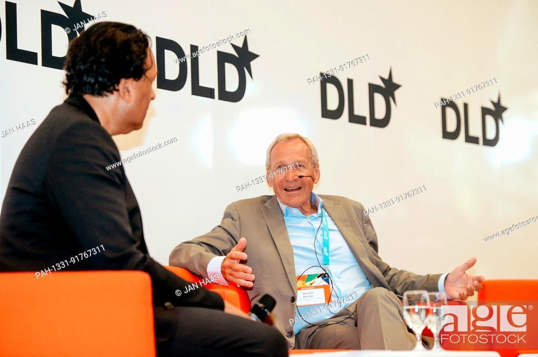 Stock Photo: BAYREUTH/GERMANY - JUNE 21: Cherno Jobatey (Huffington, l.) talks with Herbert Henzler (Herbert Henzler Consulting, r.) on the stage during the DLD Campus event.