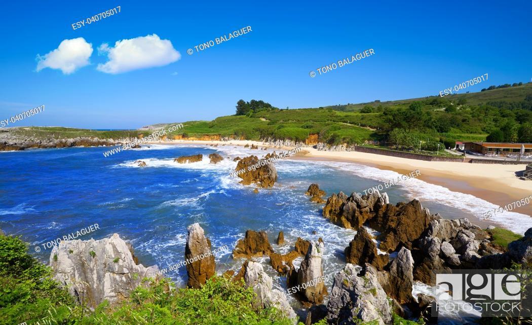 Stock Photo: Playa de Toro beach in Llanes of Asturias Spain.