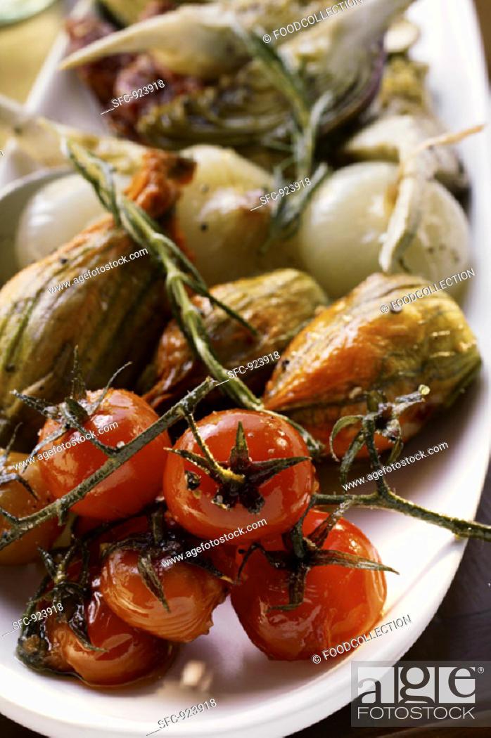 Stock Photo: Antipasti platter of marinated vegetables.