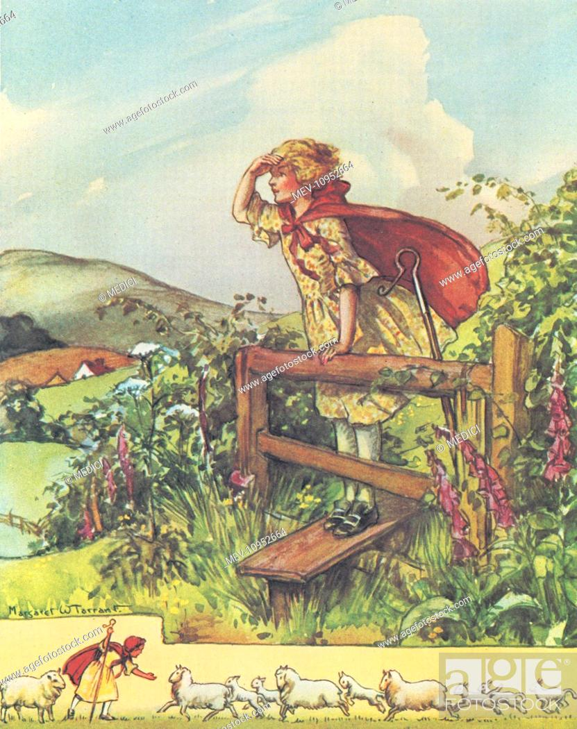 Little Sheperdess Standing On A Country Stile Looking For Her Sheep