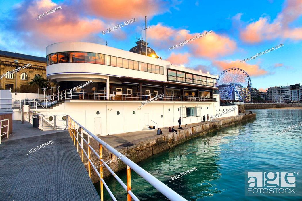 Stock Photo: Nautical Club, La Concha Bay, Donostia, San Sebastian, Basque Country, Spain.