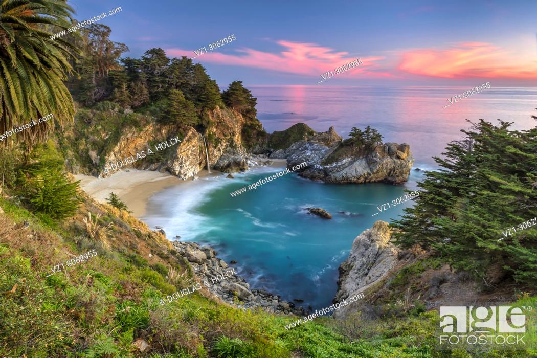 Stock Photo: Julia Pfeiffer Burns State Park McWay Falls at Sunset.