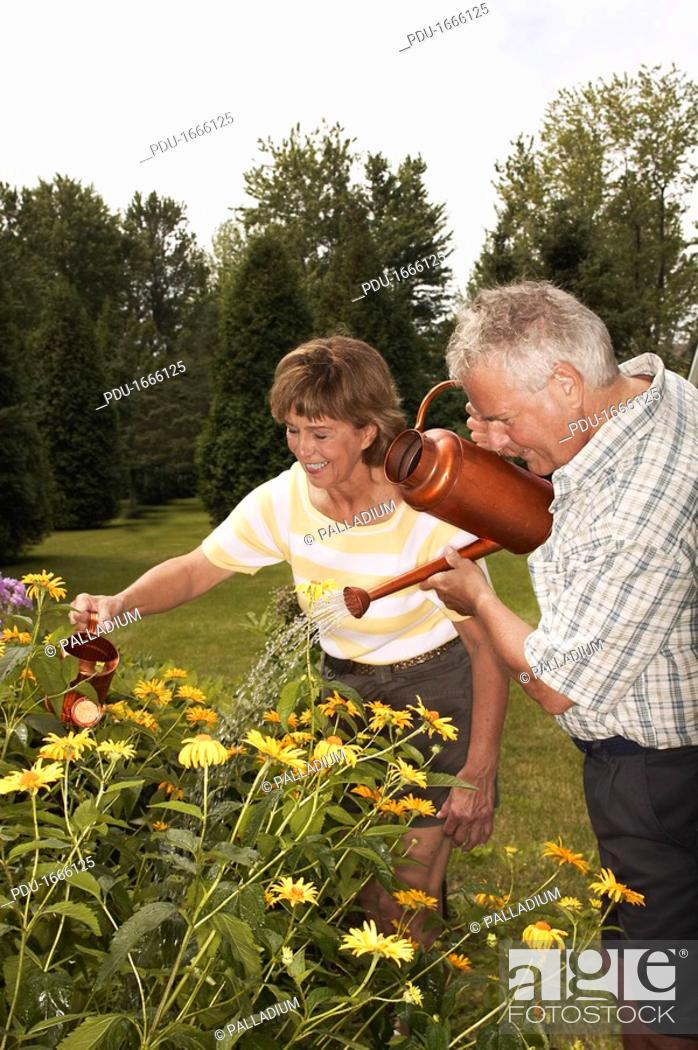 Stock Photo: Couple watering flowers.