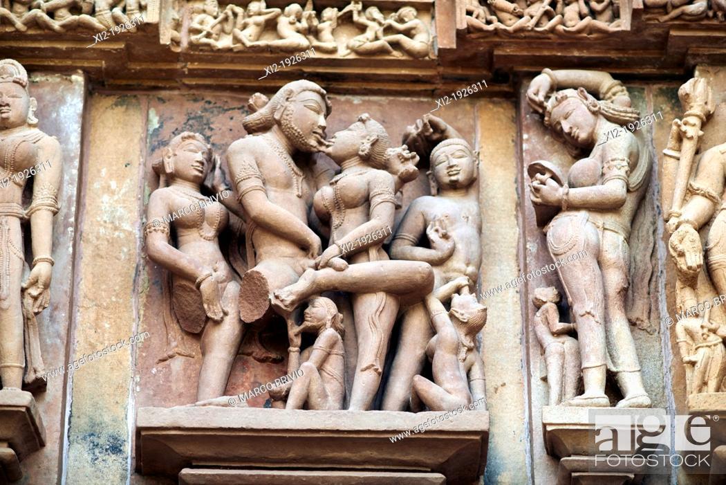 Stock Photo: Erotic carvings at Lakshmana temple  Khajuraho, Madhya Pradesh, India.