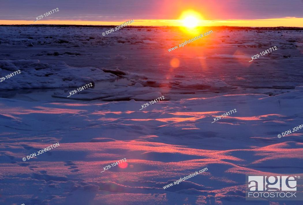 Sunset Over Hudson Bay Lowlands In Early Winter Stock Photo