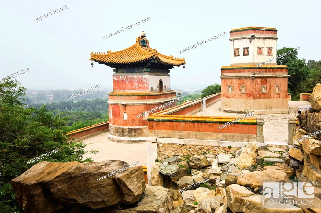 Stock Photo: High angle view of buildings, Tower of Dawn Light, Summer Palace, Beijing, China.