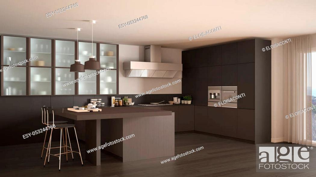 Stock Photo: Classic minimal gray and brown kitchen with parquet floor, modern interior design.
