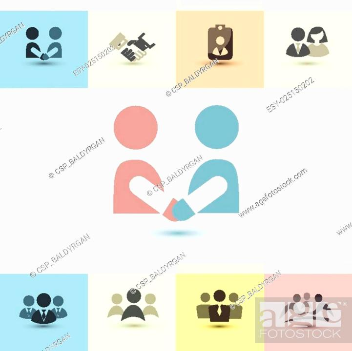 Stock Vector: business people vector icons set.