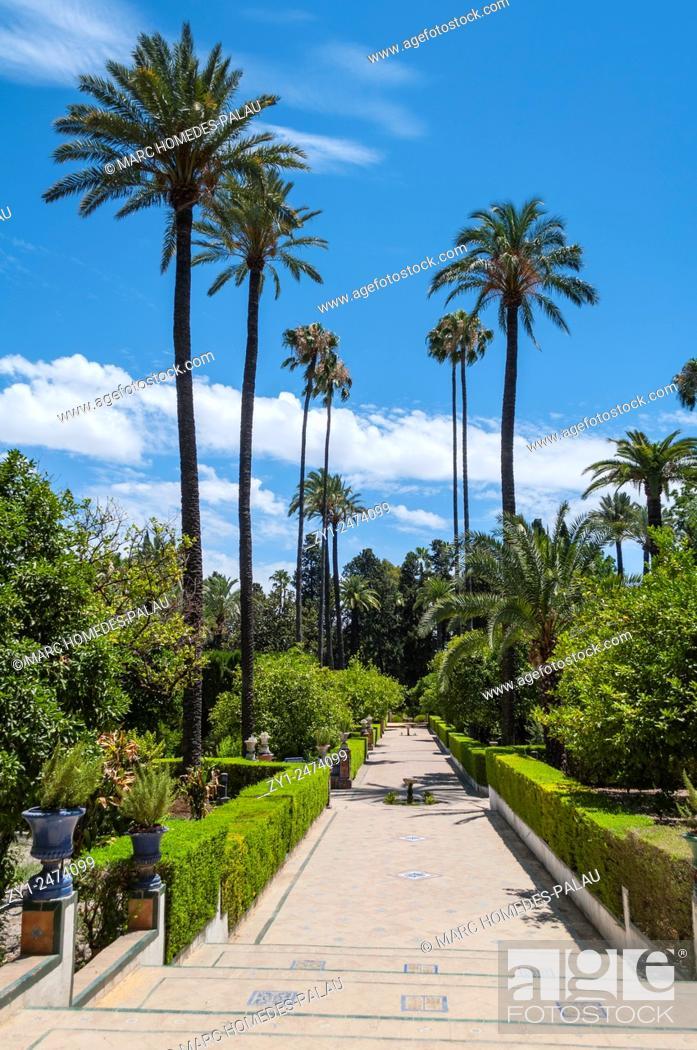 Stock Photo: Gardens of the Alcazar palace (Seville).
