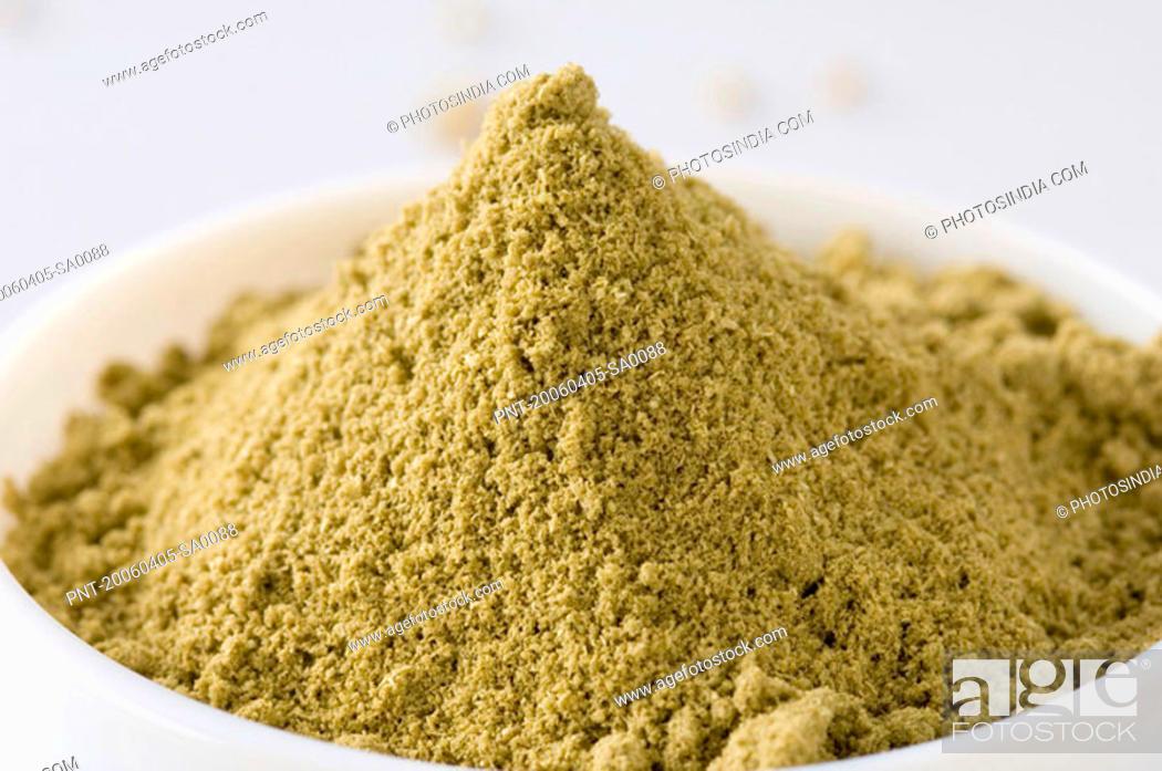 Stock Photo: Close-up of a bowl of Coriander powder.
