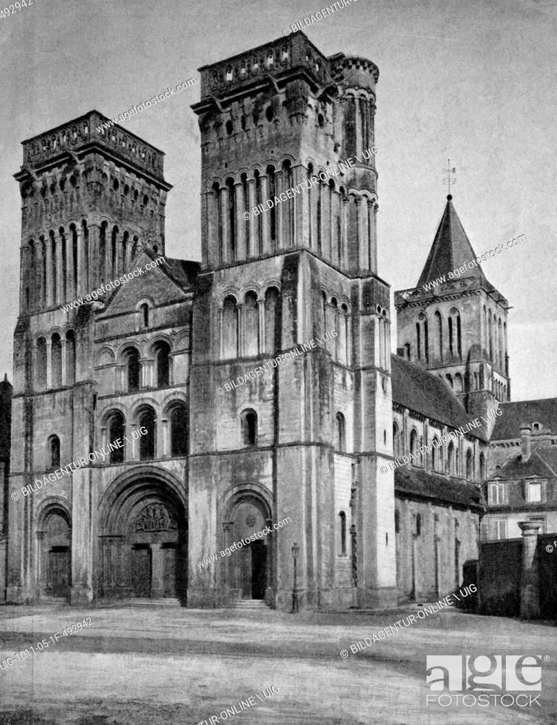 Stock Photo: Early autotype of the abbaye aux dames abbey, caen, france, lower normandy, historical picture, 1884.