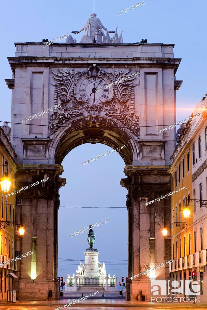 Stock Photo: Augusta Street, Lisbon, Portugal, Europe.