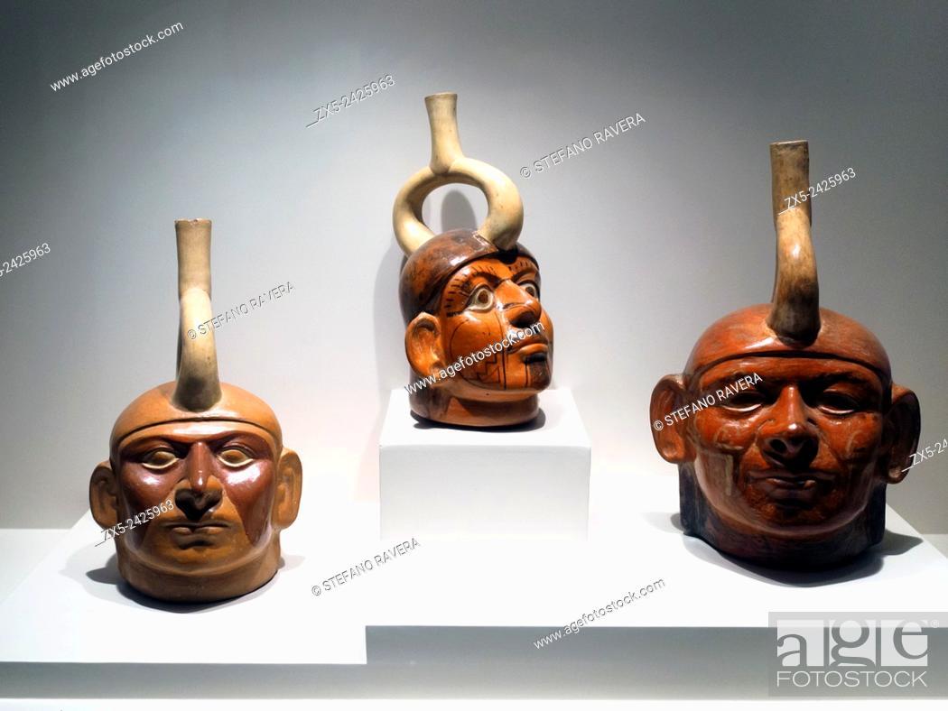 Stock Photo: Sculptured bottle - representation of a single individual. Mochica Classic period 1 - 800 AD. Museo de Arte Precolombino, Cusco - Peru.