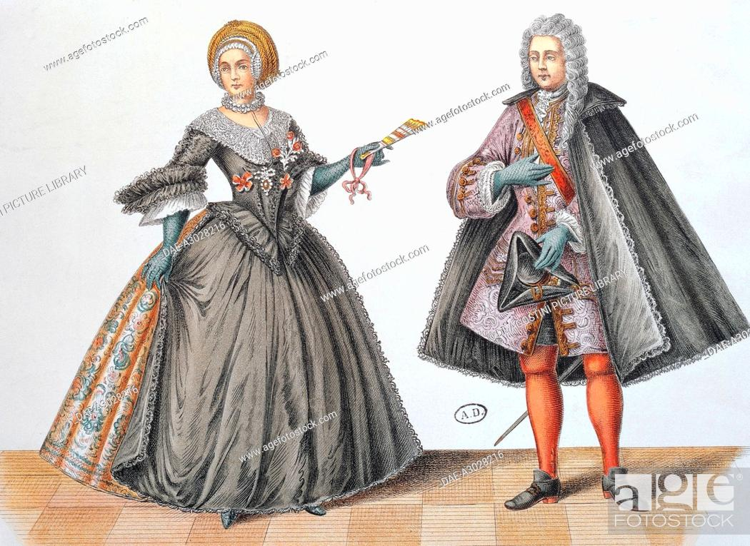 Clothing worn by Prussian nobles in the 17th century, engraving