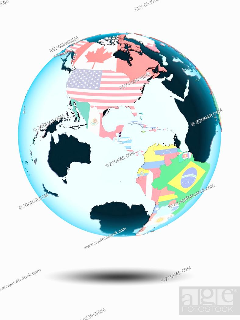 Stock Photo: Belize on political globe with shadow isolated on white background. 3D illustration.