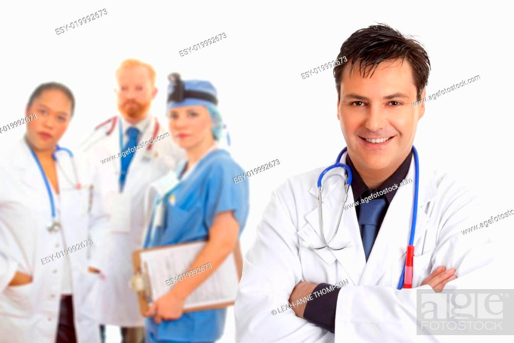 Stock Photo: Hospital medical team of doctors and surgeons.