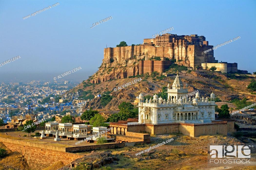 Stock Photo: Jaswant Thada Memorial and Meherangarh fort in Jodhpur  Rajasthan  India.