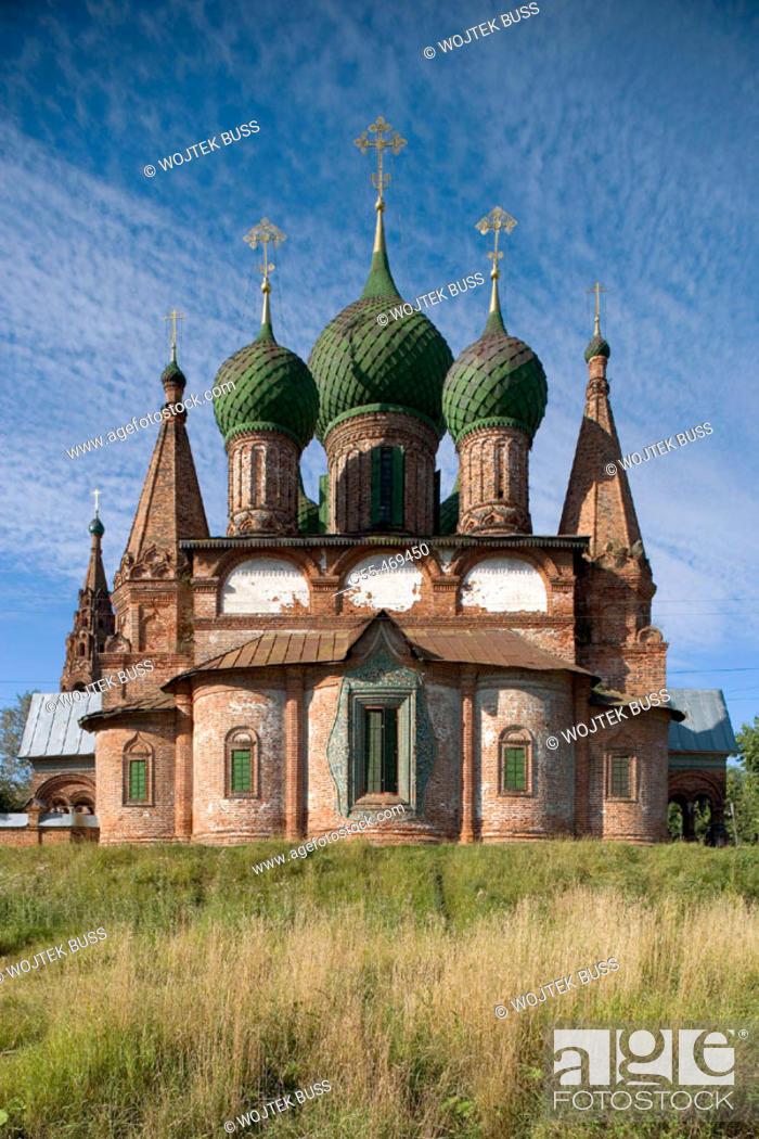 Stock Photo: Church of St. John Chrysostom (1649-54), Korovniki Sloboda, Yaroslavl. Golden Ring, Russia.