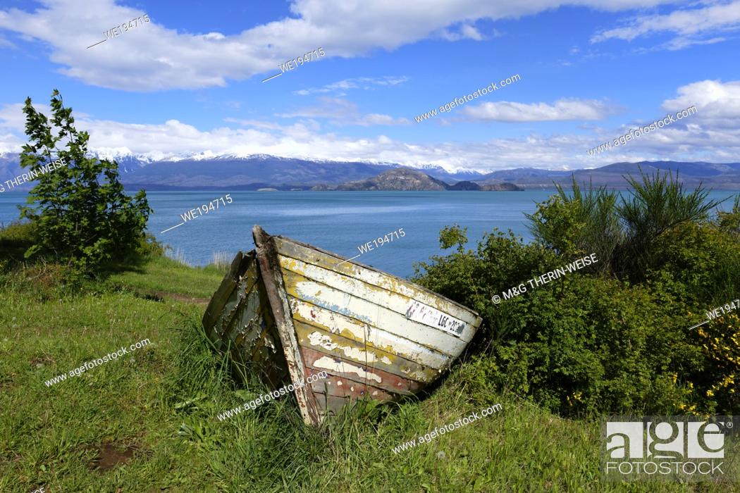Stock Photo: Old wooden canoe near General Carrera lake, Puerto Río Tranquilo, Carretera Austral, Aysen Region, Patagonia, Chile.