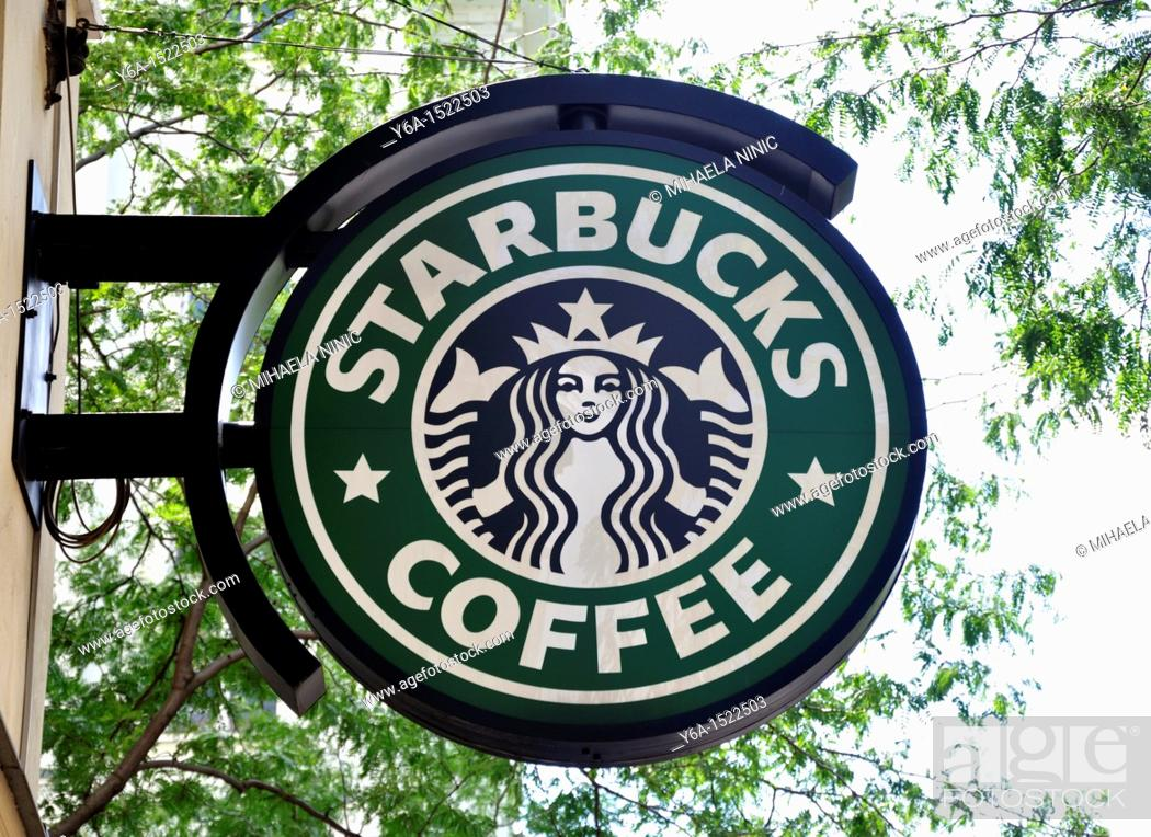 Stock Photo: Starbucks cofee sign in Mariahilfer Street Vienna Austria Europe.