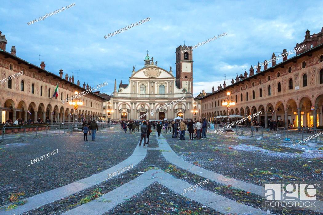 Stock Photo: Central plaza after carnival's act at dusk. Vigevano, Lombardia. Italy.