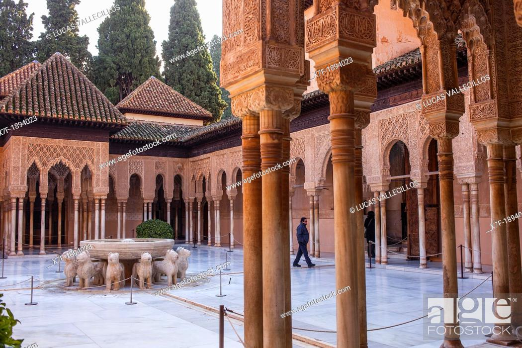 Stock Photo: Courtyard of the lions  Palace of the Lions  Nazaries palaces Alhambra, Granada  Andalusia, Spain.