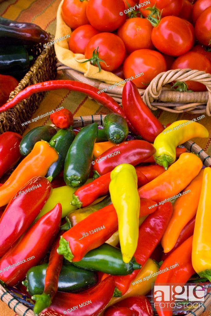 Stock Photo: Organic locally grown produce at farmers' market in Nevada City, California.