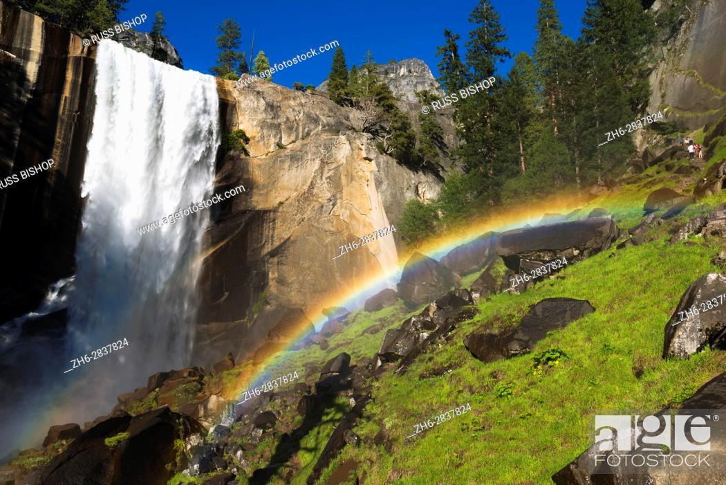 Stock Photo: Vernal Fall and hikers on the Mist Trail, Yosemite National Park, California USA.