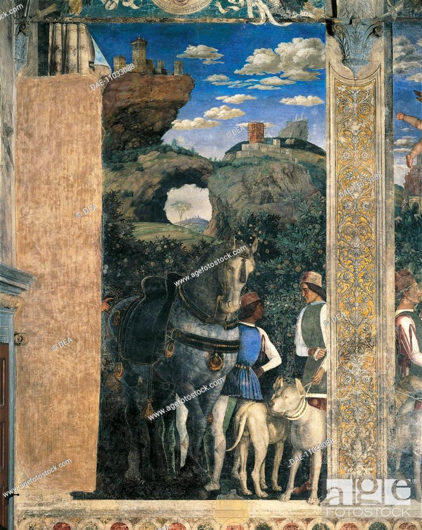 Stock Photo: Horse, mastiffs and grooms of Count Ludovico Gonzaga, detail from the Meeting Wall, 1465-1474, by Andrea Mantegna (1431-1606), fresco.