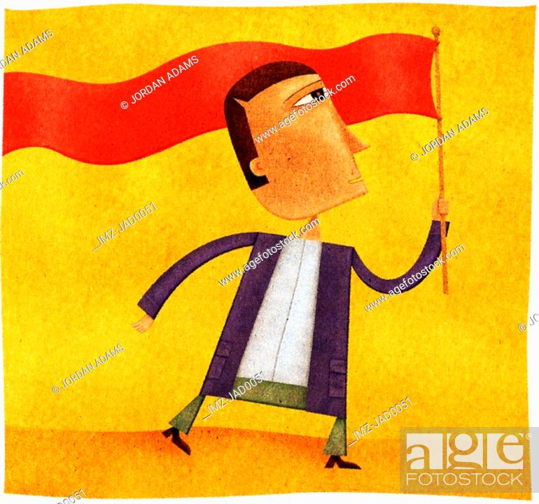 Stock Photo: A man waving a long red banner flag.