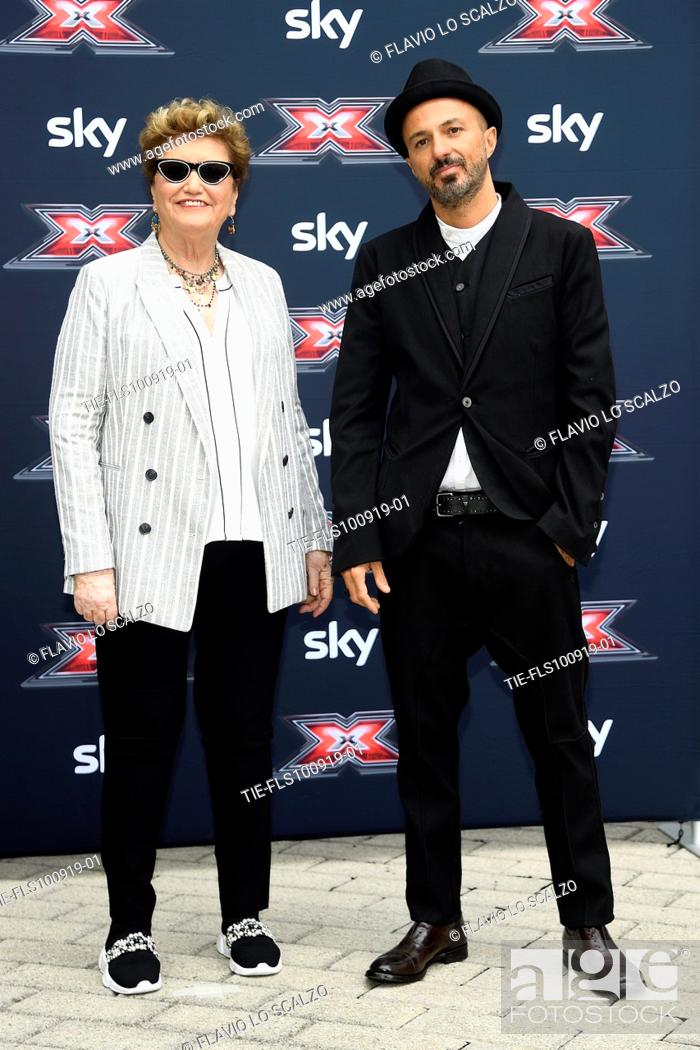 Stock Photo: Record producer Mara Maionchi, singer Samuel during the photocall of X Factor 2019, Milan, ITALY-10-09-2019.