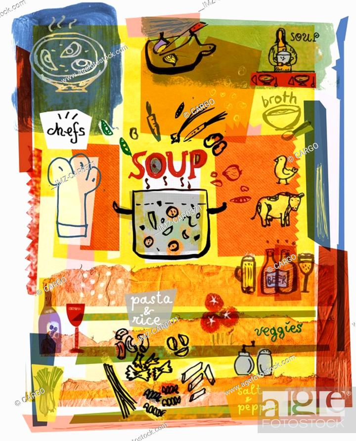 Stock Photo: Collage illustrating the preparation of soup.