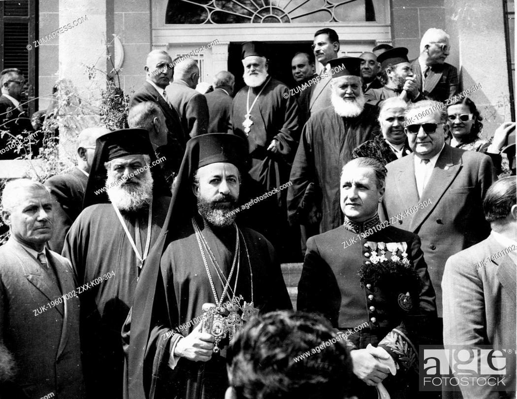 Stock Photo: Apr. 12, 1955 - Nicosia, Cyprus - ARCHBISHOP MAKARIOS III watches a 'Freedom' parade held in Cyprus. Next to him is the Bishop of Kitium.