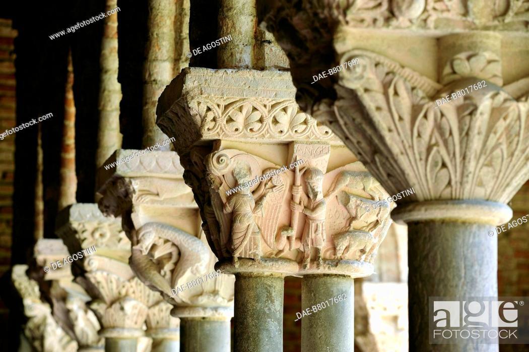 Stock Photo: Decorated capitals, 1100, cloister of Saint-Pierre Abbey (UNESCO World Heritage Site, 1998), Moissac, Occitanie, France, 12th century.
