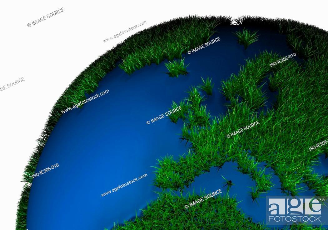 Stock Photo: Grass covered globe.