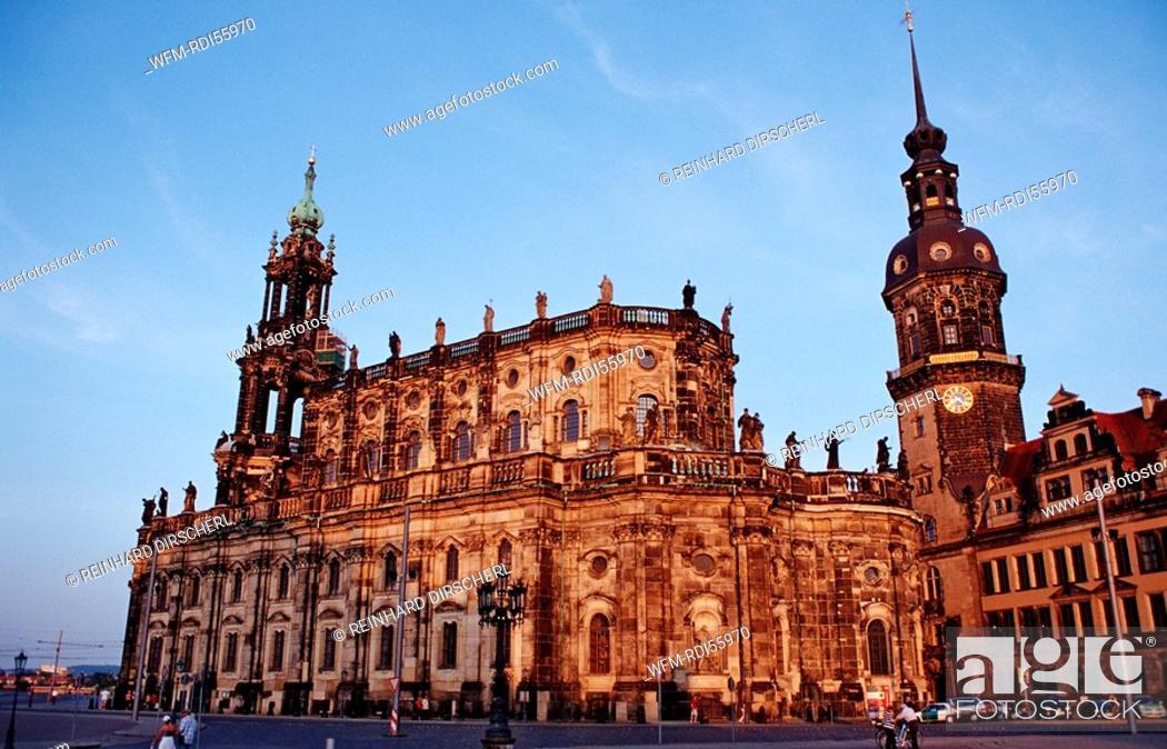 Stock Photo: Hofkirche, Hausmannsturm and Schloss, Dresden, Germany.