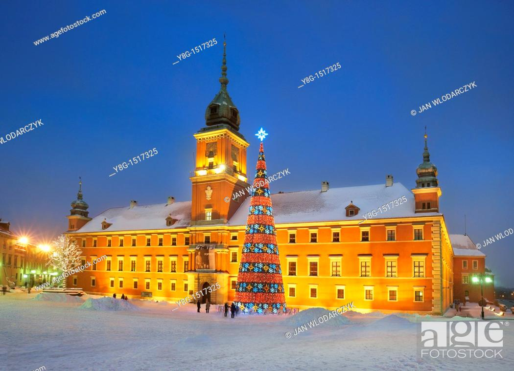 Stock Photo: Warsaw, Royal Castle in Christmas time, Poland, Europe.
