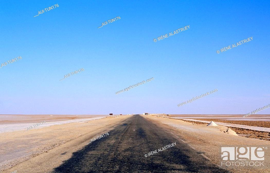 Stock Photo: Tunisia - The South - Chott el Jerid Region - crossing over the salines.