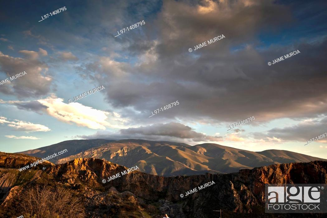 Stock Photo: View of the Sierra Nevada mountain's, Alpujarra's, Province of Granada, Spain.