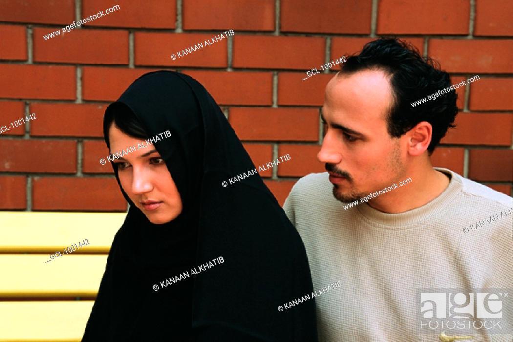 Stock Photo: Couple contemplating breakup.