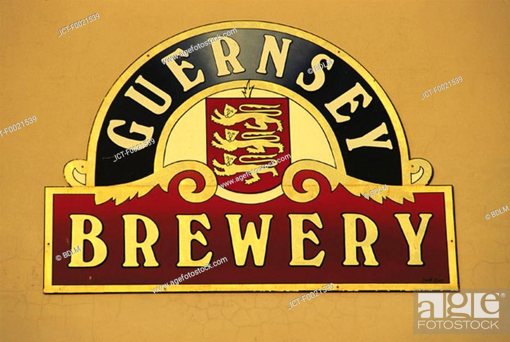 Stock Photo: Channel Islands, Guernsey, pub's sign.