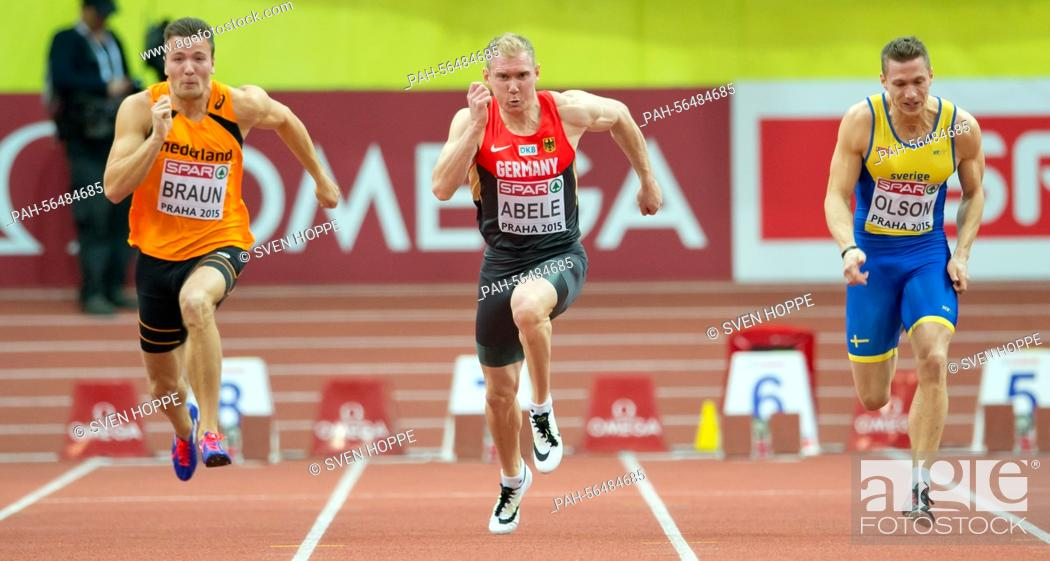 Photo de stock: Pieter Braun of the Netherlands (L-R), Arthur Abele of Germany and Petter Olson of Sweden in action during the men's Heptathlon 60m competition at the IAAF.