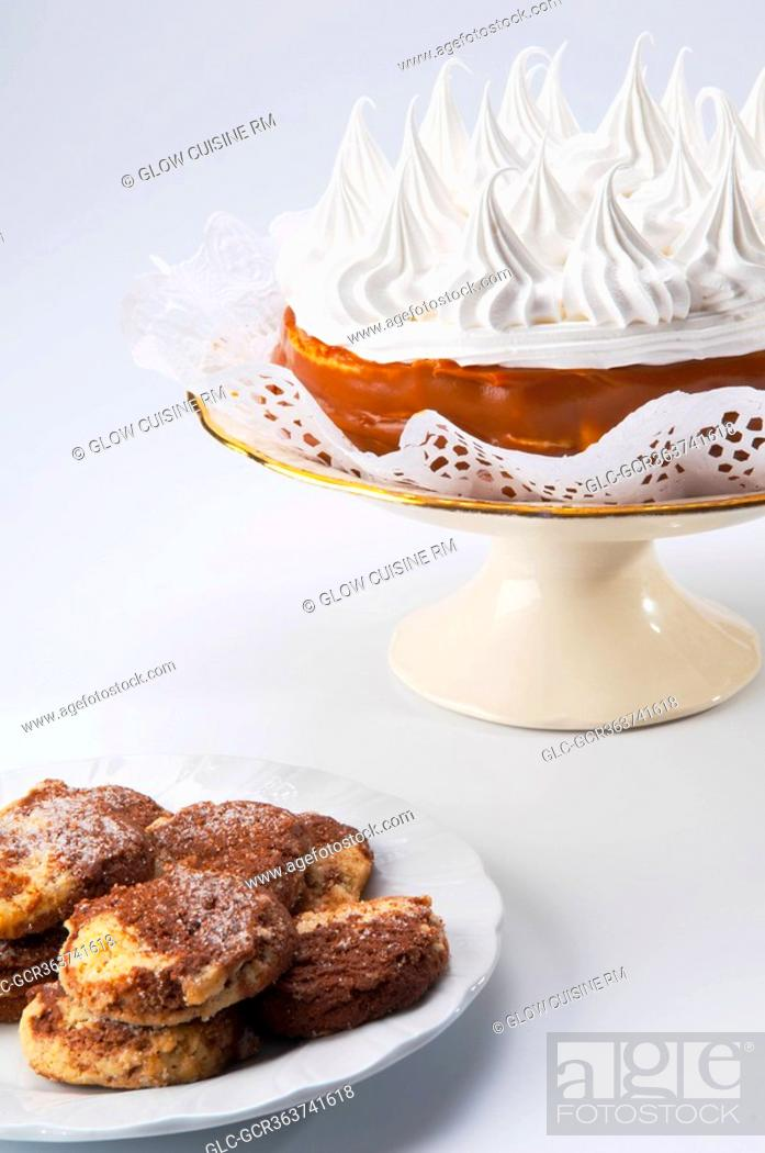 Stock Photo: Close-up of cookies with a meringue pie.