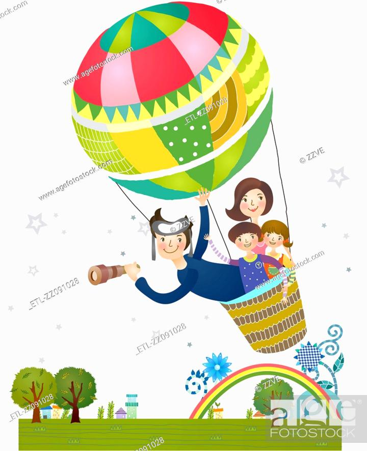 Stock Photo: Family inside the hot air balloon.